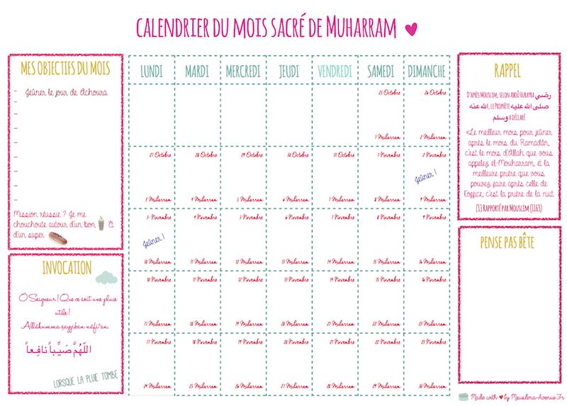 calendrier mois de Muharram